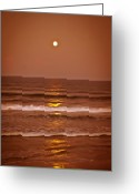 Lunar Greeting Cards - Golden Pathway to the Shore Greeting Card by DigiArt Diaries by Vicky Browning