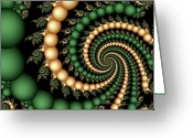 Pearls Greeting Cards - Golden Pearls Greeting Card by Sandra Bauser Digital Art