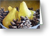 Artiste Greeting Cards - Golden Pears and Pine Cones Greeting Card by Richard T Pranke