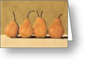 Food Pastels Greeting Cards - Golden Pears  Greeting Card by Jan Amiss