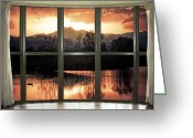 Meeker Greeting Cards - Golden Ponds Bay Window View Greeting Card by James Bo Insogna