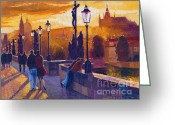 Europe Painting Greeting Cards - Golden Prague Charles Bridge Sunset Greeting Card by Yuriy  Shevchuk