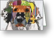 Contemporary Dog Portraits Greeting Cards - Golden Retriever Lucky Greeting Card by Michel  Keck