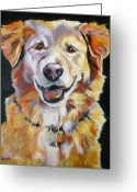 Happy Drawings Greeting Cards - Golden Retriever Most Huggable Greeting Card by Susan A Becker