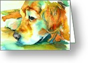 Dog Greeting Cards - Golden Retriever Profile Greeting Card by Christy  Freeman