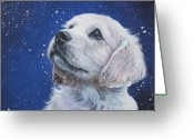 Original Greeting Cards - Golden Retriever Pup in Snow Greeting Card by L A Shepard