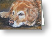 Original Greeting Cards - Golden Retriever Senior Greeting Card by Lee Ann Shepard