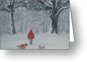 L.a.shepard Greeting Cards - Golden Retriever winter walk Greeting Card by Lee Ann Shepard