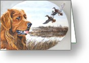 Dog Prints Greeting Cards - Golden Retriever with Marsh Scene Greeting Card by Johanna Lerwick
