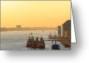 Hamburg Greeting Cards - Golden River Greeting Card by Marc Huebner