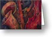 Classical Music Art Greeting Cards - Golden Sax Greeting Card by Susanne Clark