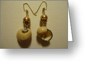 Earrings Jewelry Greeting Cards - Golden Shell Earrings Greeting Card by Jenna Green