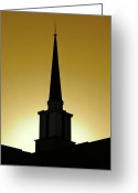 Lobby Greeting Cards - Golden Sky Steeple Greeting Card by CML Brown