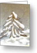 Snow Posters Greeting Cards - Golden Snow Covered Tree Greeting Card by Marsha Heiken
