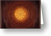 Yantra Greeting Cards - Golden Sri Yantra Greeting Card by Charlotte Backman