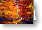 Red Fall Colors Greeting Cards - Golden Sunlight Greeting Card by David Lloyd Glover