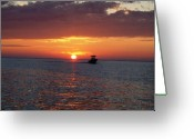 Boca Grande Prints Greeting Cards - Golden sunset from boat Greeting Card by Geralyn Palmer