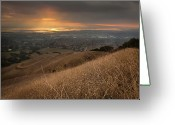 Horizon Over Land Greeting Cards - Golden Sunset Over San Francisco Bay Greeting Card by Sean Duan