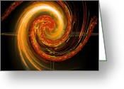Algorithm Greeting Cards - Golden Swirl Greeting Card by Michael Durst