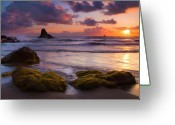 Seafoam Greeting Cards - Golden Tides Greeting Card by Mike  Dawson