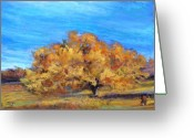 Oak Pastels Greeting Cards - Golden Tree Greeting Card by Susan Jenkins