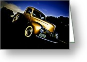 Gold Ford Greeting Cards - Golden V8 Greeting Card by Phil