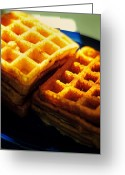 Brunch Greeting Cards - Golden Waffles Greeting Card by Rebecca Sherman