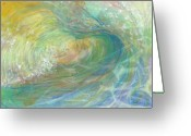 Tropical Beach Painting Greeting Cards - Golden Waters Greeting Card by Arlissa Vaughn