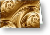 Twirl Greeting Cards - Golden Waves Greeting Card by Anastasiya Malakhova