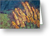 Fine Art Batik Tapestries - Textiles Greeting Cards - Golden Wheat Fields of Kansas Batik Greeting Card by Kristine Allphin