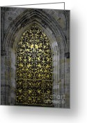 Rich Greeting Cards - Golden Window - St Vitus Cathedral Prague Greeting Card by Christine Till