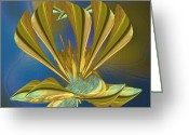 Lacy Fractal Greeting Cards - Golden Wreath Greeting Card by Anne Lacy