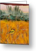 Batik Greeting Cards - Goldfinch in the wheat Greeting Card by Carolyn Doe
