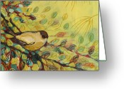 Featured Greeting Cards - Goldfinch Waiting Greeting Card by Jennifer Lommers