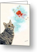 Graphite Mixed Media Greeting Cards - Goldfish Dreams Greeting Card by Callie Fink