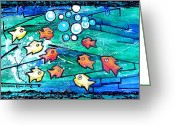 Aquarium Painting Greeting Cards - Goldfish Pac Man Greeting Card by Genevieve Esson