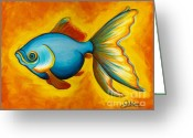 Fish Greeting Cards - Goldfish Greeting Card by Sabina Espinet