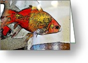 Goldfish Greeting Cards - Goldfish Greeting Card by Sarah Loft