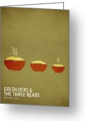 Art Prints Digital Art Greeting Cards - Goldilocks and the Three Bears Greeting Card by Christian Jackson