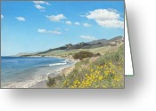 Waves Painting Greeting Cards - Goleta Coast Greeting Card by James Robertson