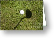 Golf Green Greeting Cards - Golf ball and shadow Greeting Card by Mats Silvan