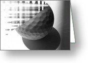 Golf Digital Art Greeting Cards - Golf Ball Distortion Greeting Card by Evguenia Men