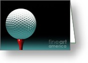 Playing Golf Greeting Cards - Golf Ball Greeting Card by Gualtiero Boffi