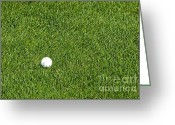 Golf Green Greeting Cards - Golf Ball in the Tall Green Grass on a Resort Course Greeting Card by ELITE IMAGE photography By Chad McDermott