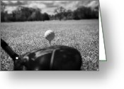 The Start Greeting Cards - Golf Ball On The Tee With Driver Greeting Card by Joe Fox