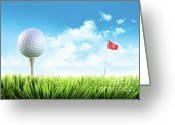 Player Photo Greeting Cards - Golf ball with tee in the grass  Greeting Card by Sandra Cunningham