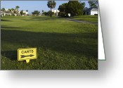 Golf Green Greeting Cards - Golf Cart Sign on a Course Greeting Card by Skip Nall
