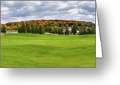 Golf Green Greeting Cards - Golf Course Greeting Card by Oleksiy Maksymenko