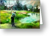 Miki Golf Art Greeting Cards - Golf in Crans sur Sierre Switzerland 01 Greeting Card by Miki De Goodaboom