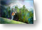 Miki Golf Art Greeting Cards - Golf in Crans sur Sierre Switzerland 02 Greeting Card by Miki De Goodaboom